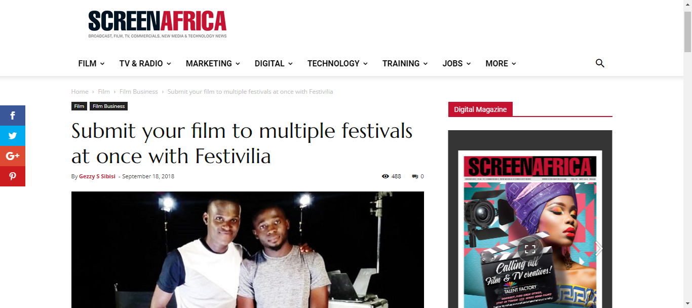 Festivilia on ScreenAfrica
