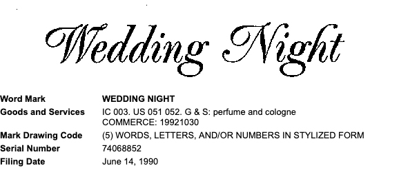 Wedding Night Trademark