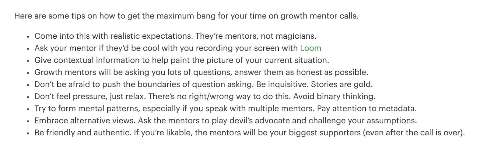GrowthMentor's tips