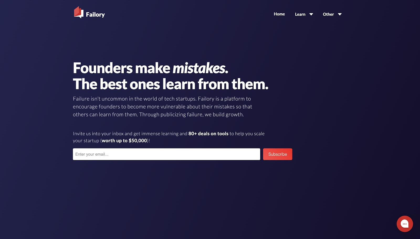 Failory's old website