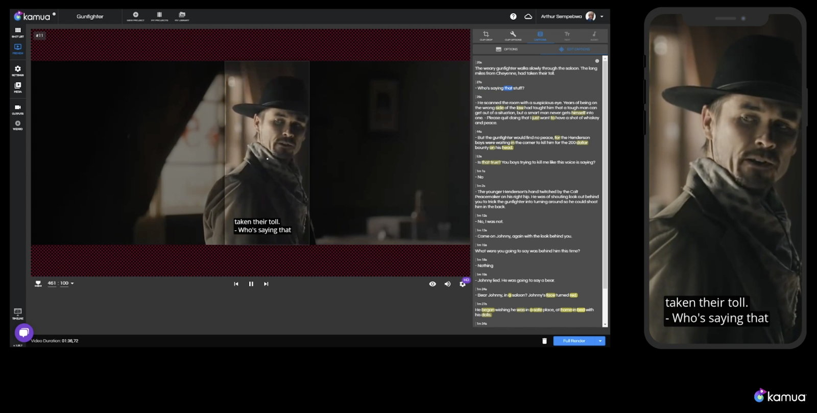 Kamua's editing features