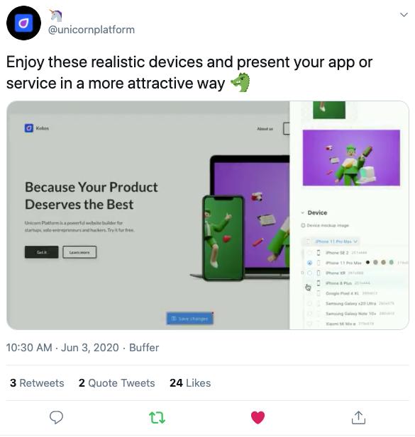 Unicorn Platform's tweet