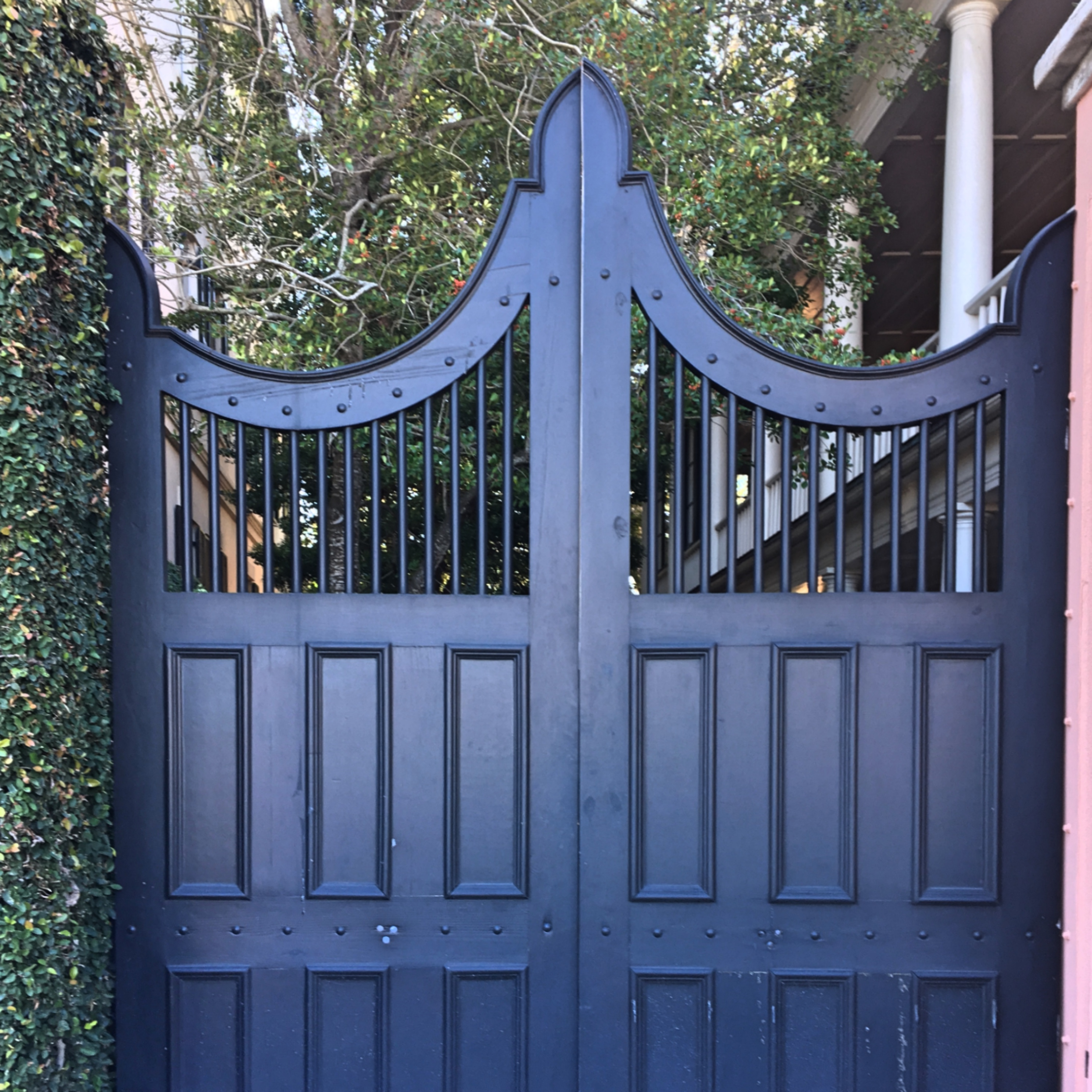 black decorative gate milled wooden gate fig ivy wall