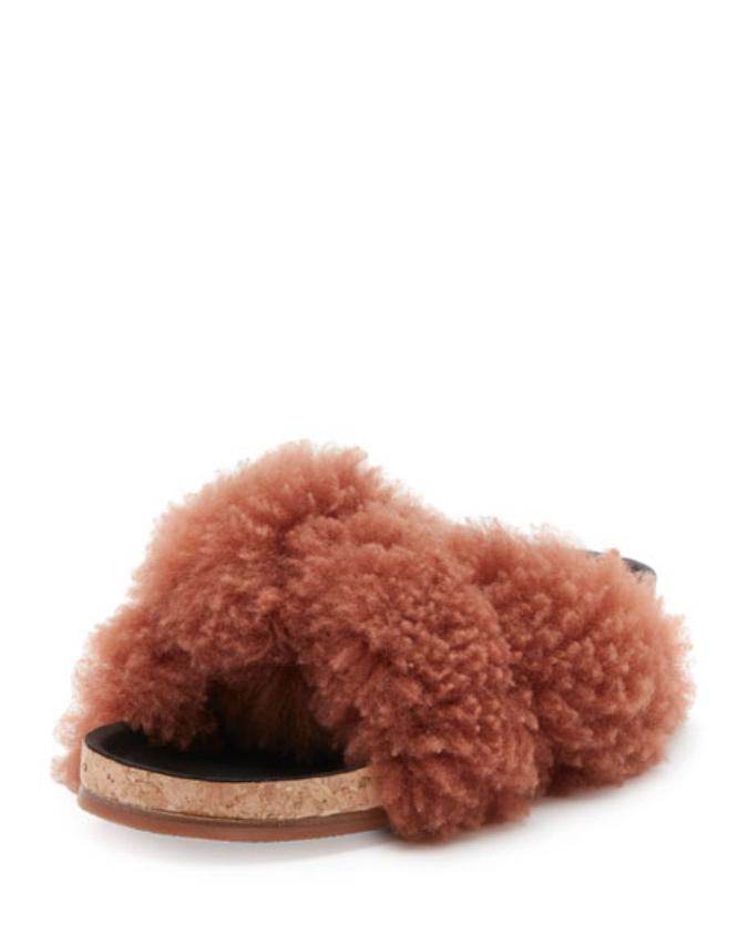 Chloe Shearling Fur Flat Slide