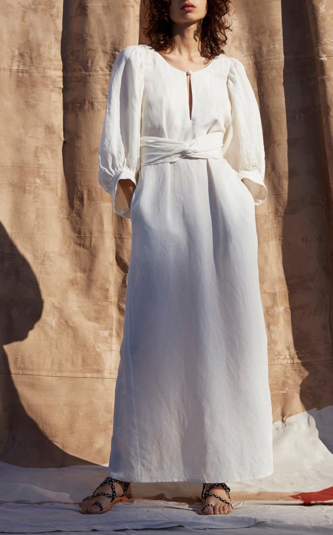 Apiece Apart Odesa Low Back Ankle-length Dress white