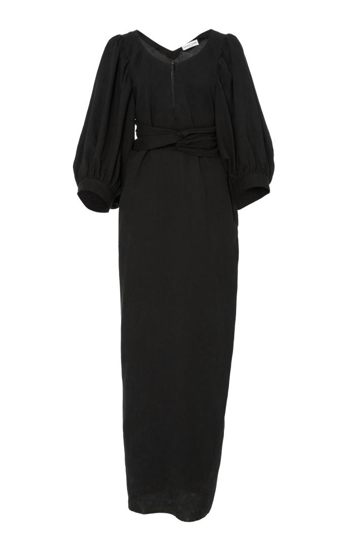 Apiece Apart Low Back Ankle Length Dress Black