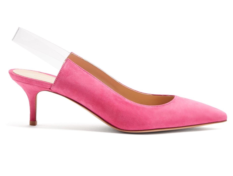 Gianvito Rossi Eva Kitten Heel Slingback Pumps Pink