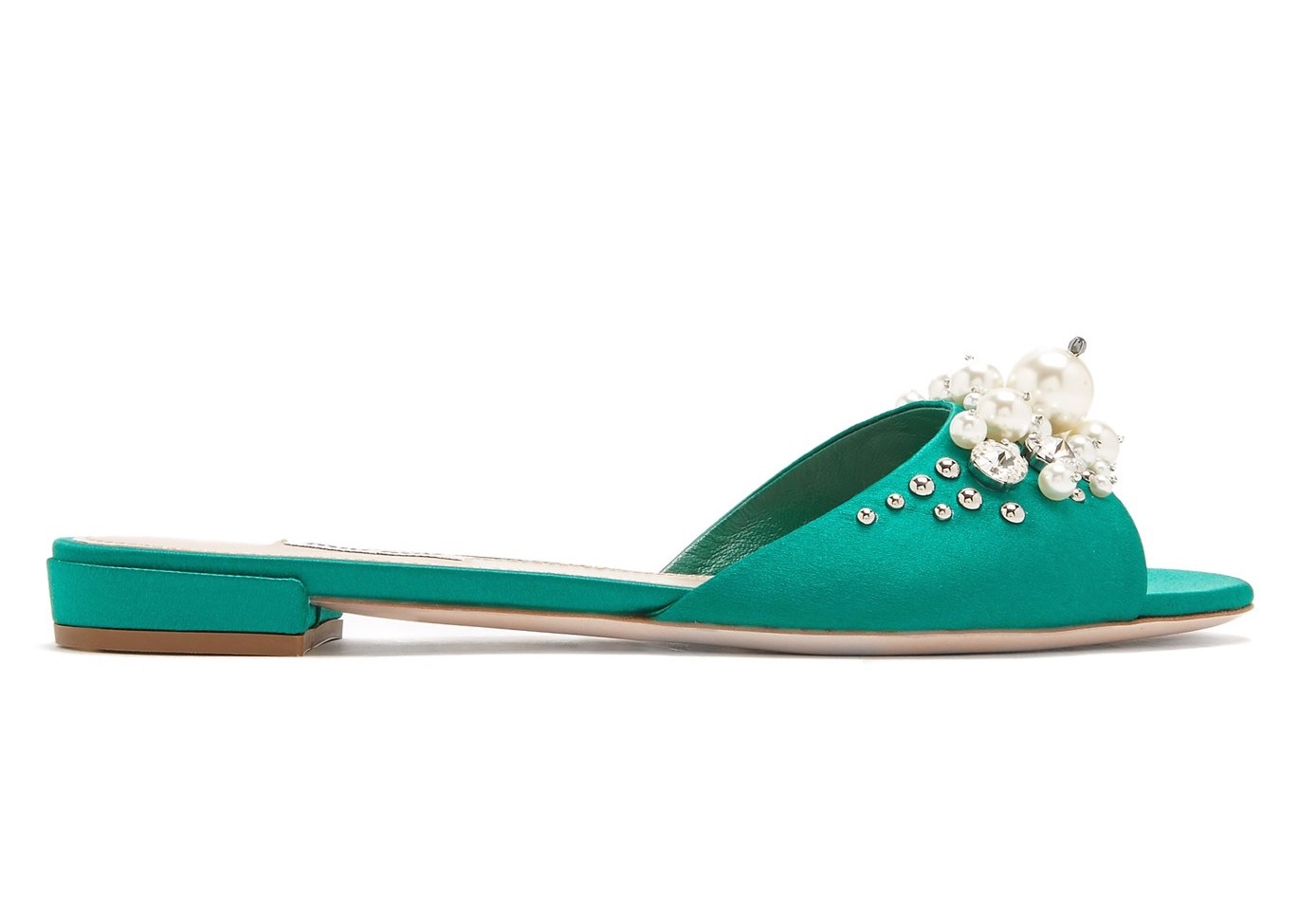 Miu Miu Teal Embellished Slides