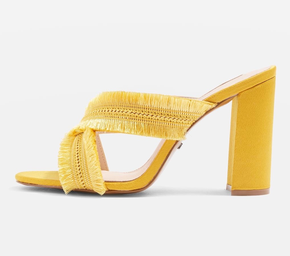 Topshop Ywllow Fringe Block Heel Sandals