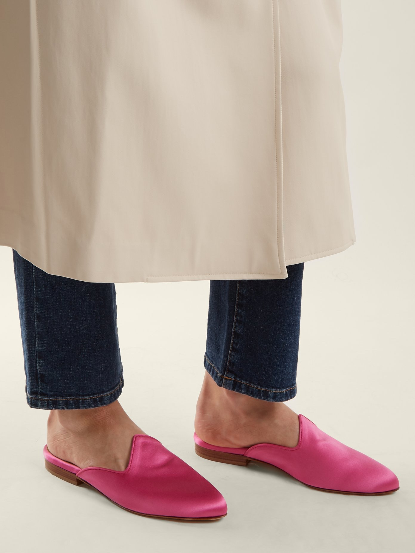 le monde beryl pink satin slipper slides