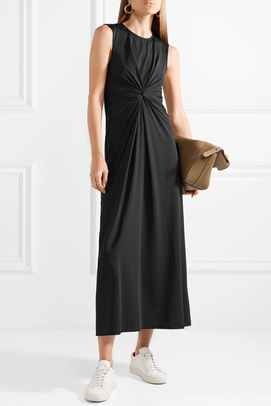 Theory Twist Front Stretch Jersey Midi Dress