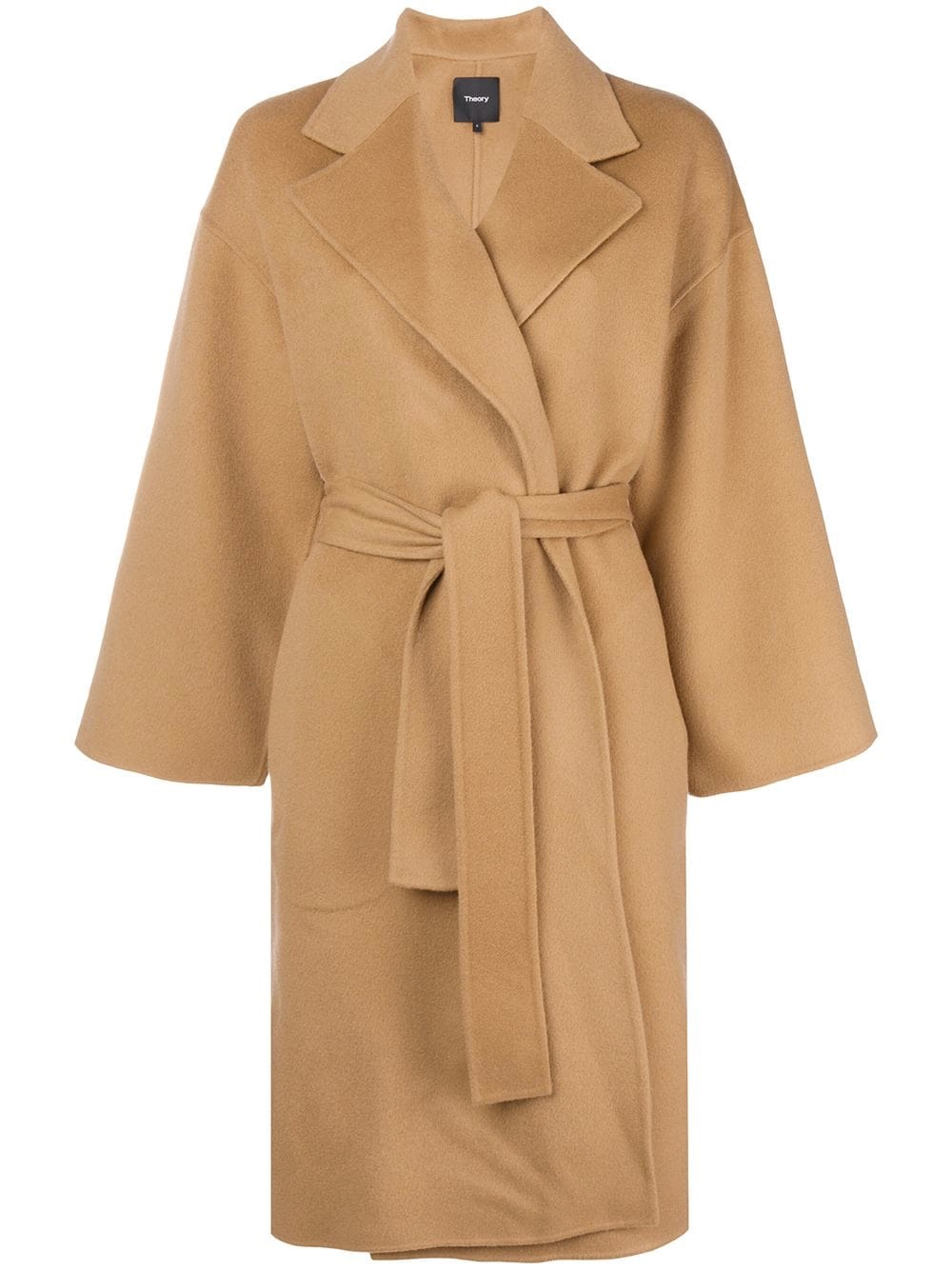 Theory over-sized camel belted coat