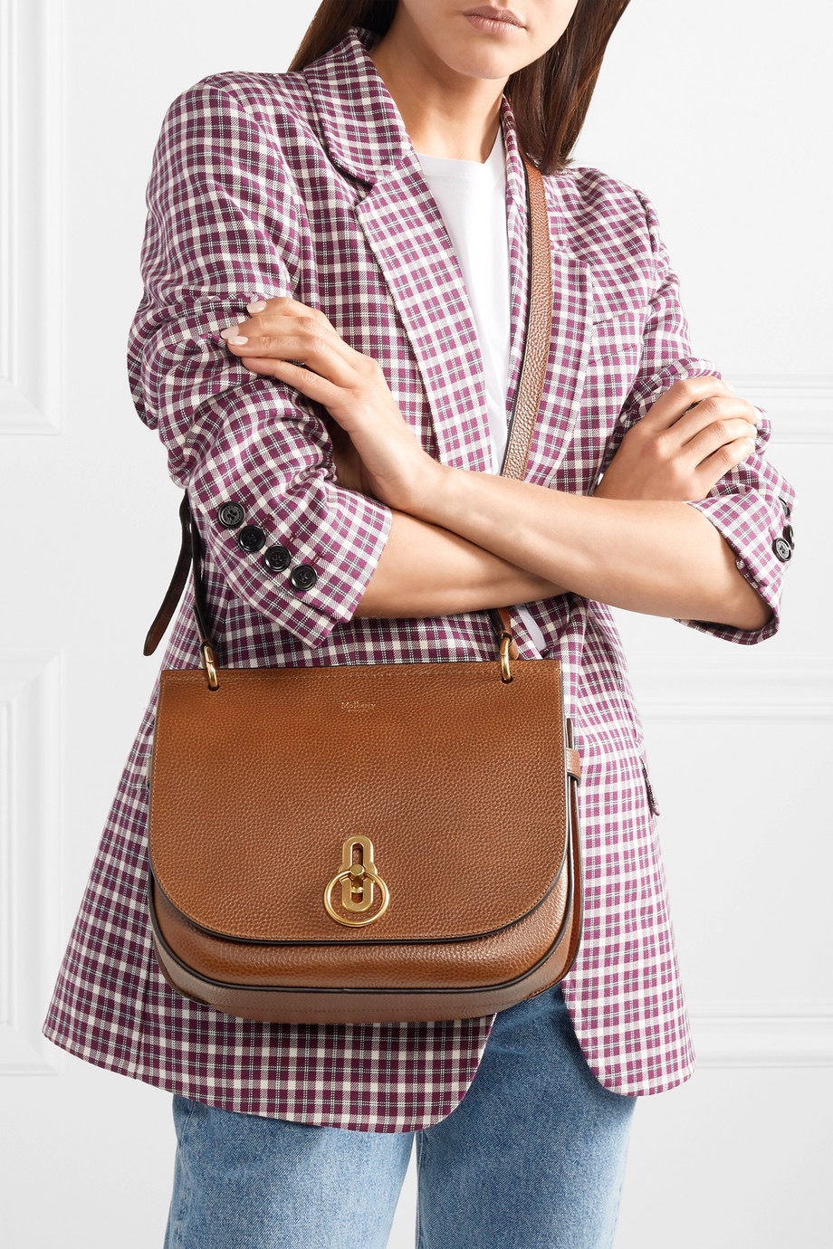 Mulberry tan leather saddlebag