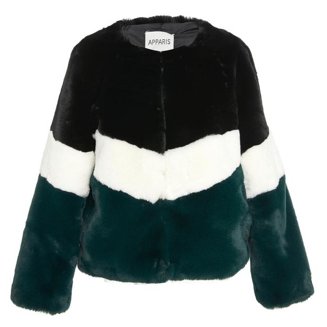 Apparis Brigitte Faux Fur Jacket Black Green Chevron