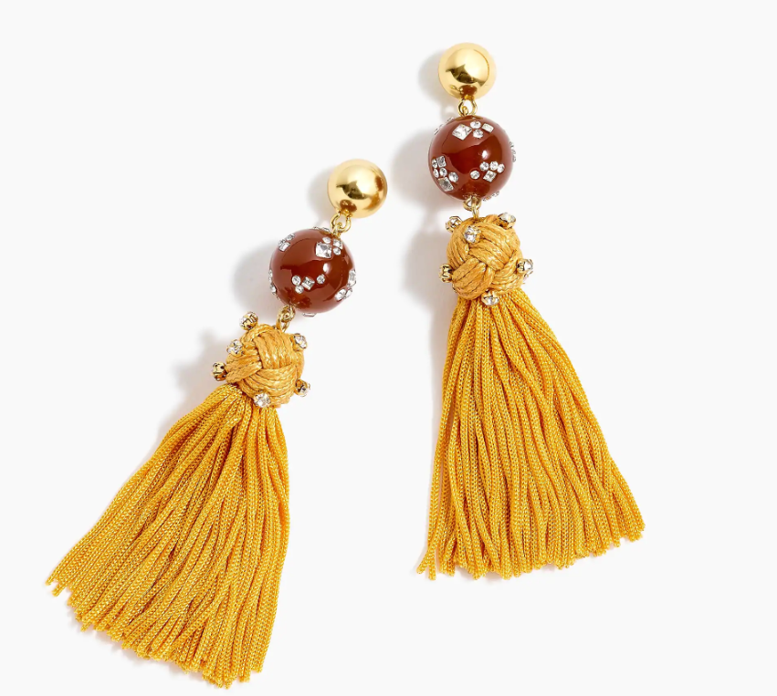 JCrew Beaded Crystal Tassel Statement Earrings Yellow