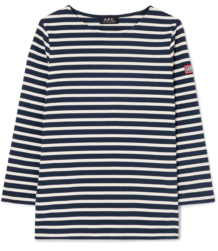 A.P.C. Breton Stripe T Navy