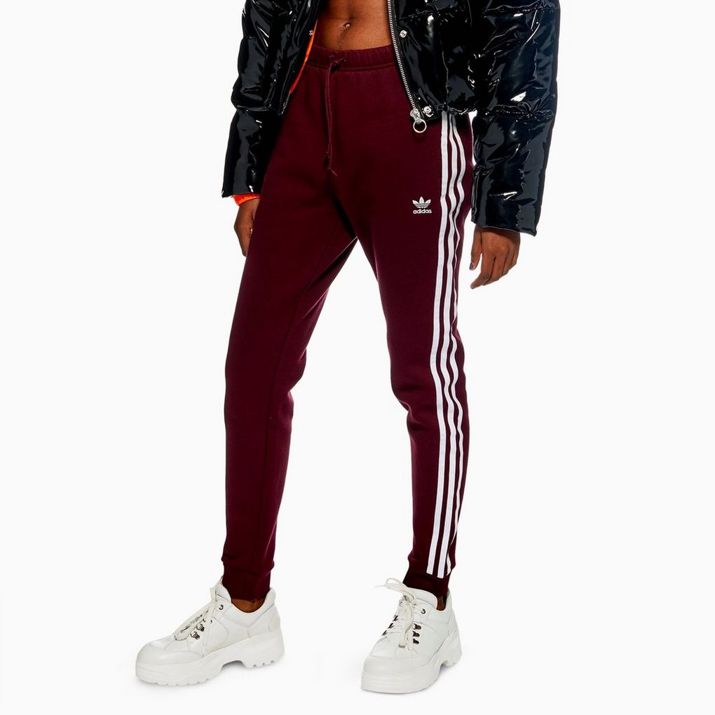 Adidas urgundy track pant side stripes