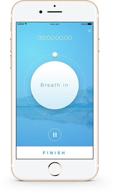 Feel Mobile App - breathing exercise screen