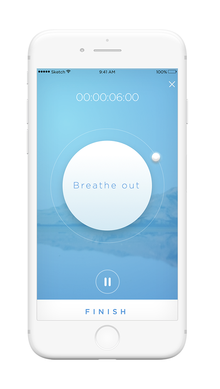 Feel Mobile App - breathing exercise screen
