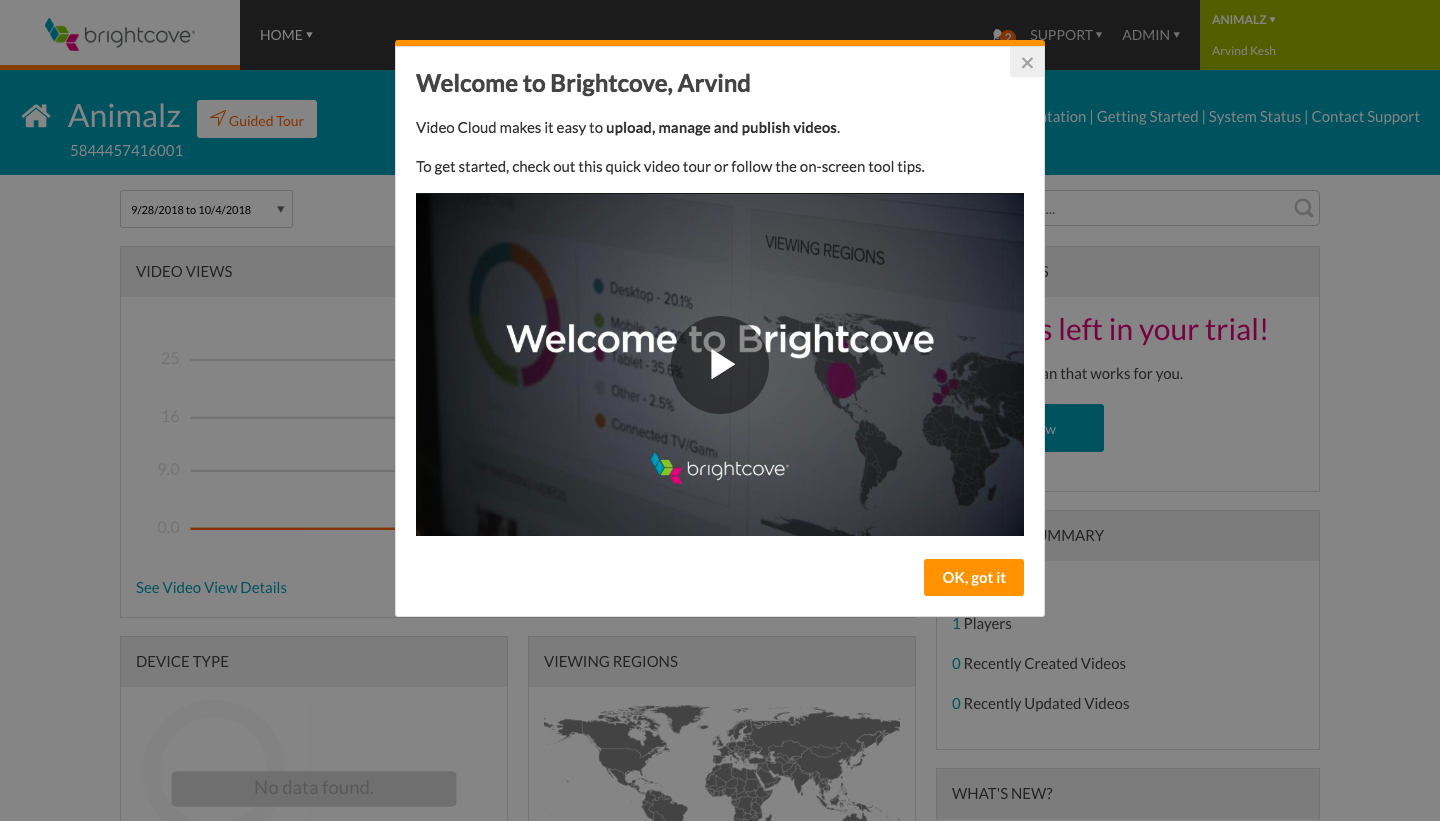 Brightcove's welcome modal is really good UX because it's a quick video.