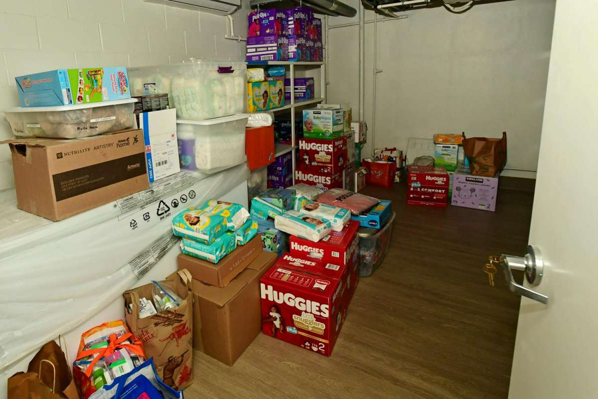 A storage area for diapers, formula and more