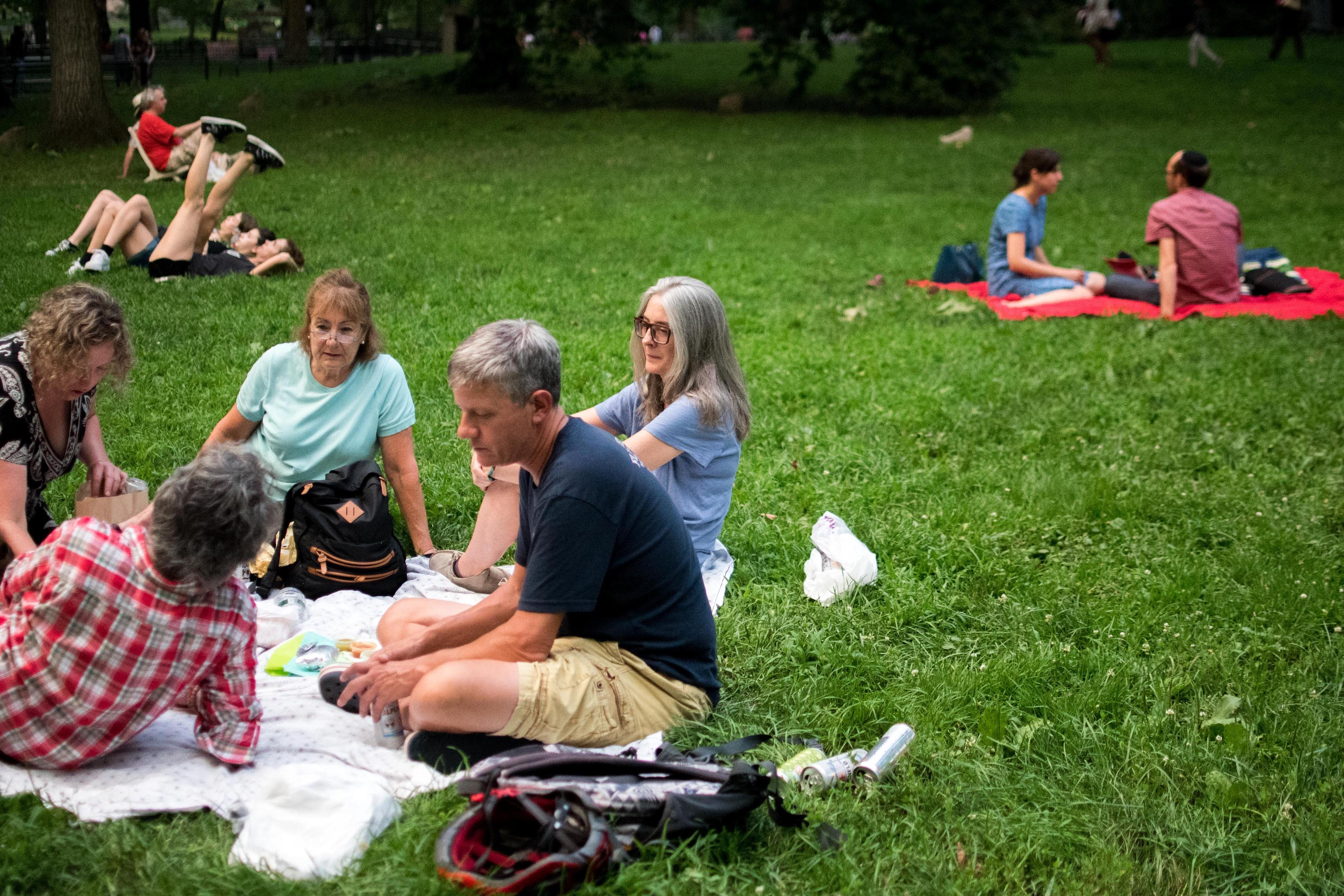 Group of men and women having a picnic in Central Park.