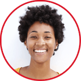 Lady smiling short curly hair