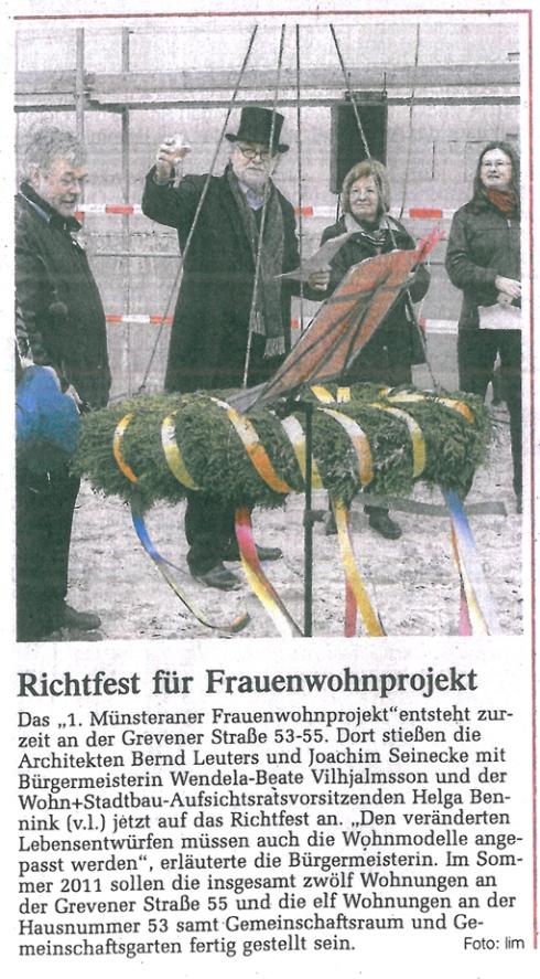 Artikel WN Richtfest Frauenwohnprojekt Grevener Straße