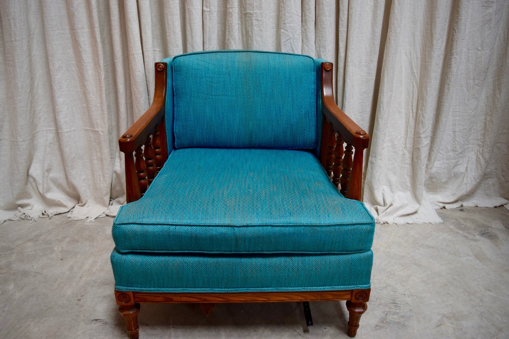 vintage upholstered chair rentals light blue chair