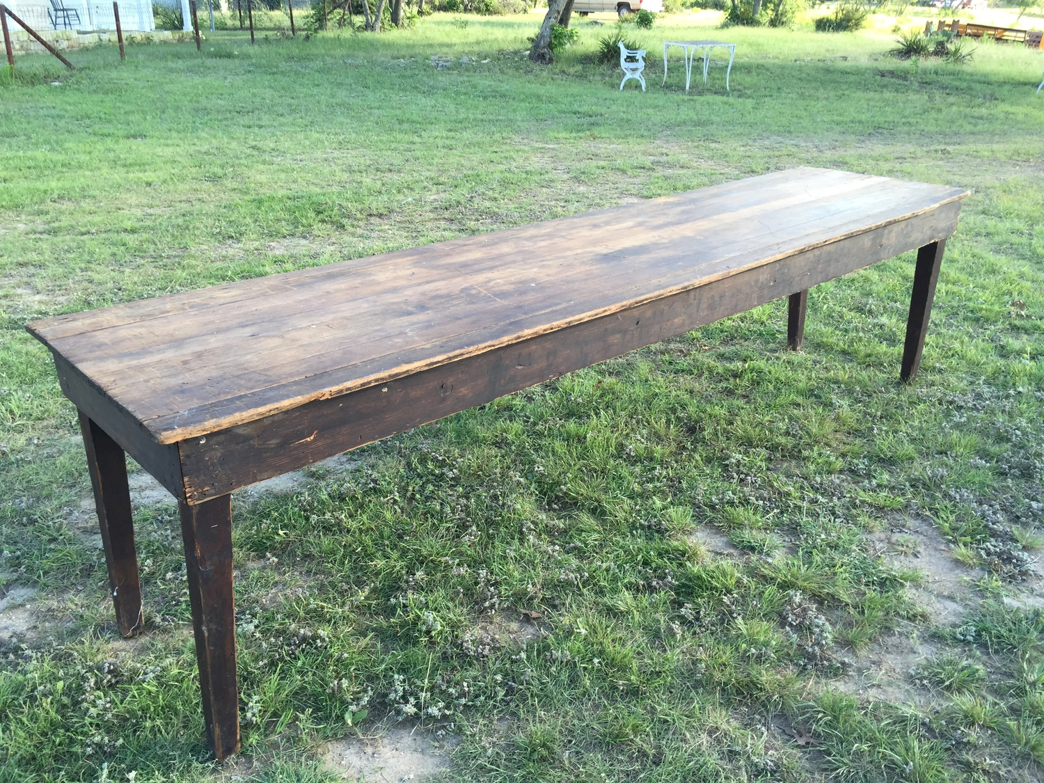 Vintage Farm Table Rentals 10 Ft Dark Wood Farm Table