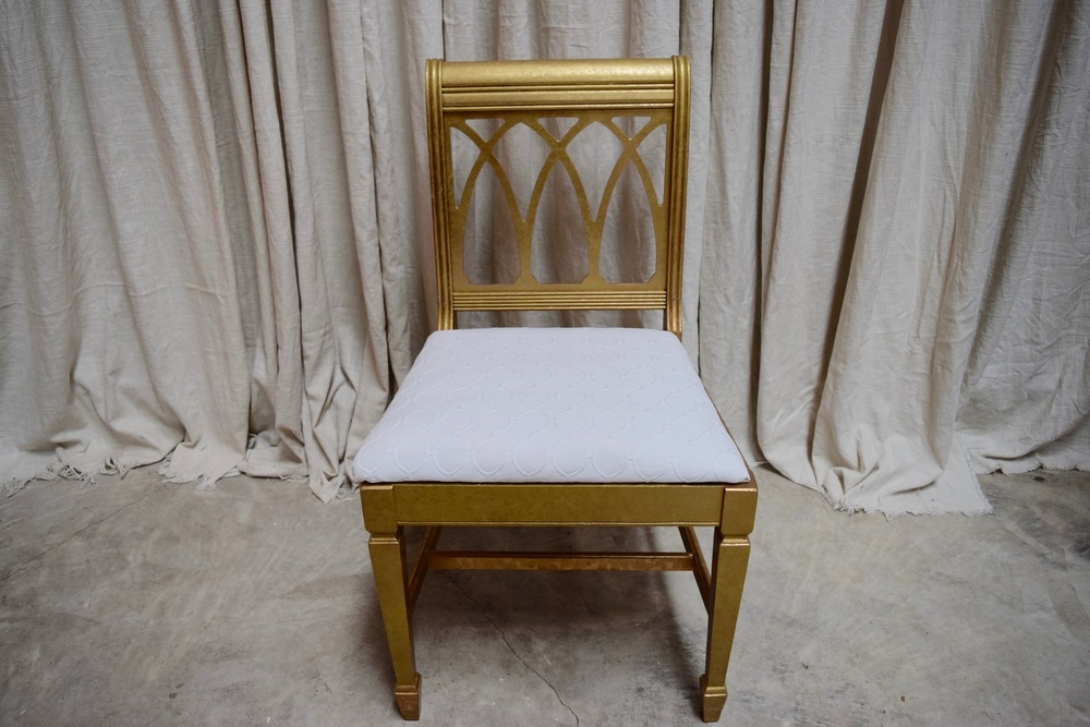 White And Gold Dining Chairs: Vintage Upholstered Chair Rentals Gold And White Dining Chair