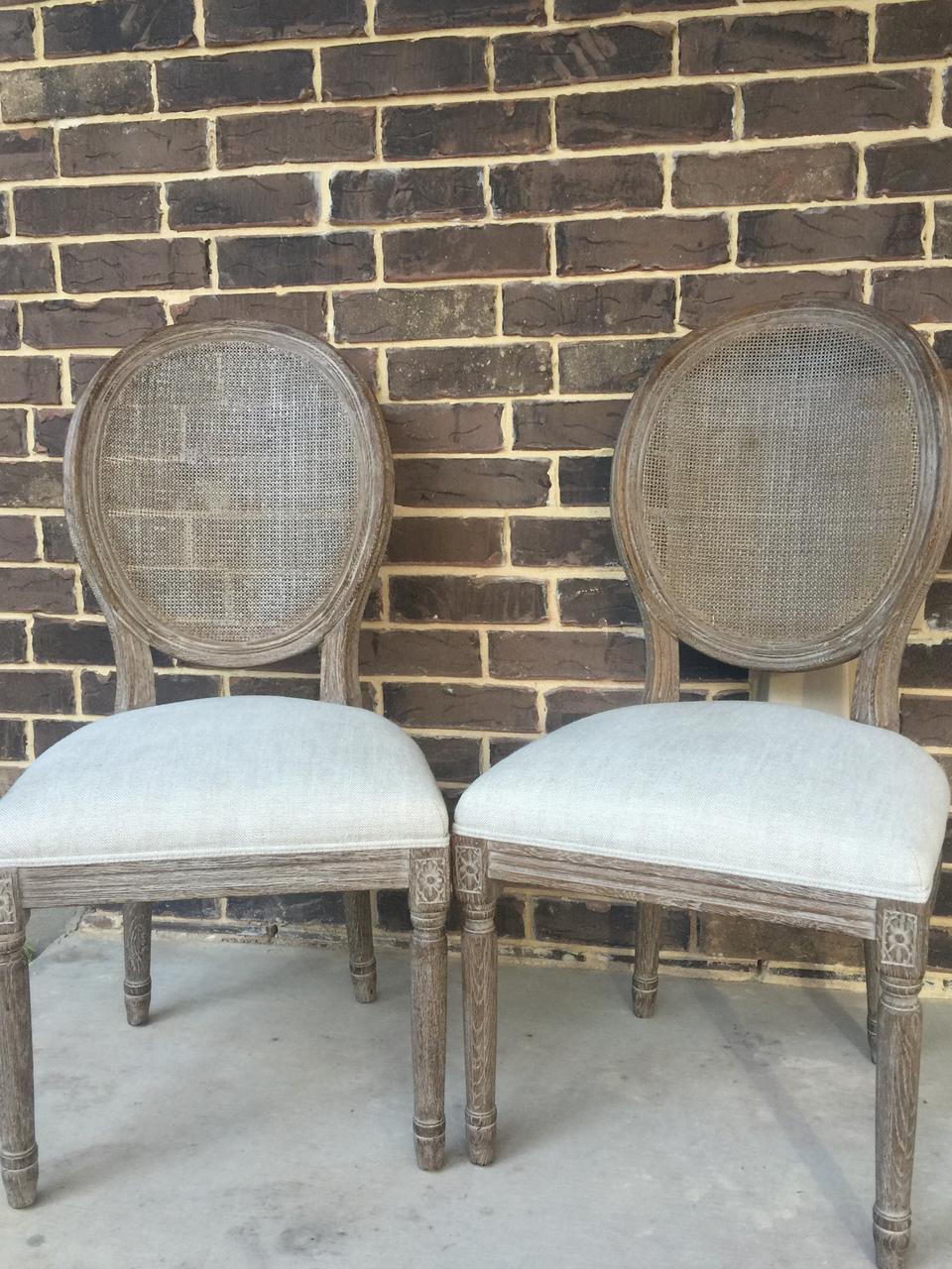 Faye French Linen Cane Back Chairs
