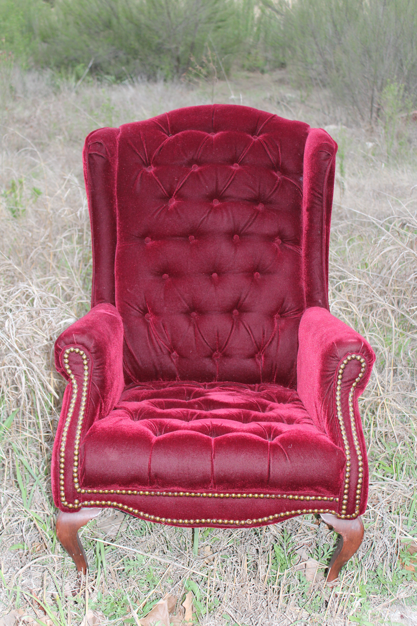 vintage upholstered chair rentals ruby red chair