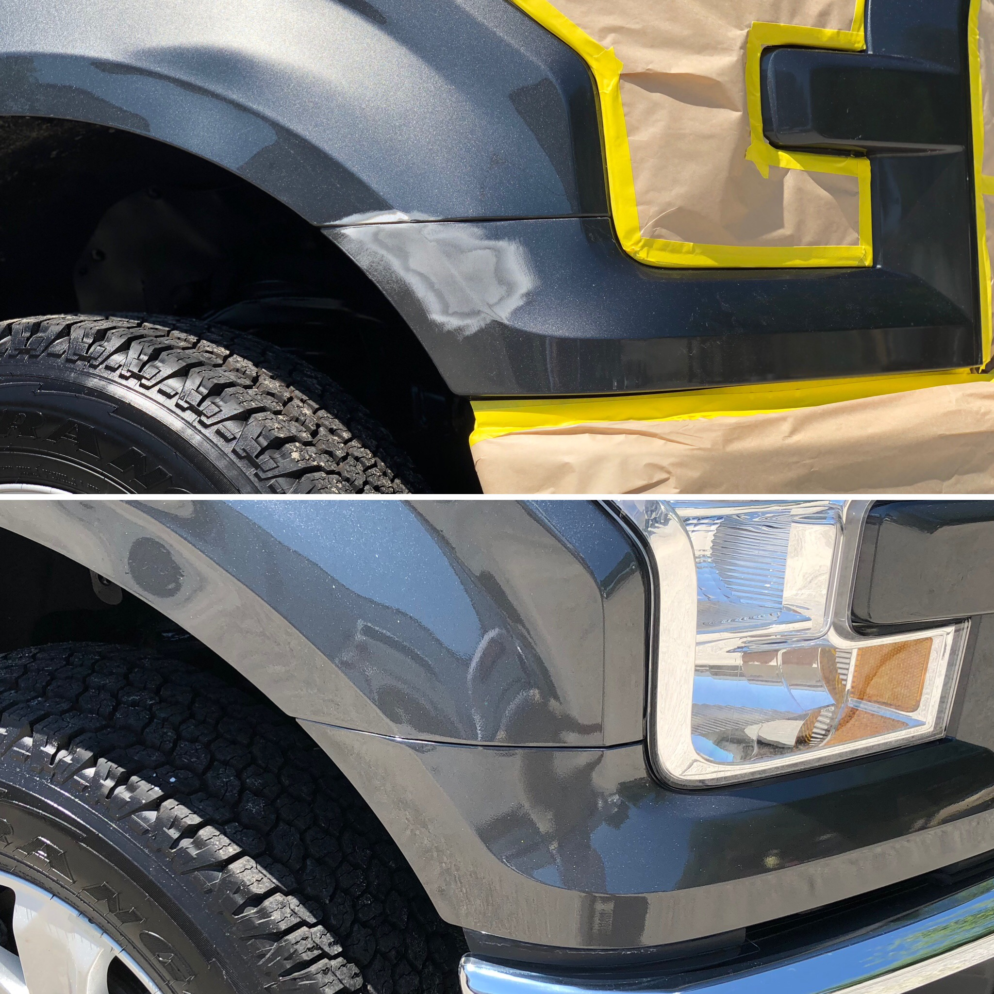 Before and after picture of repaired bumper