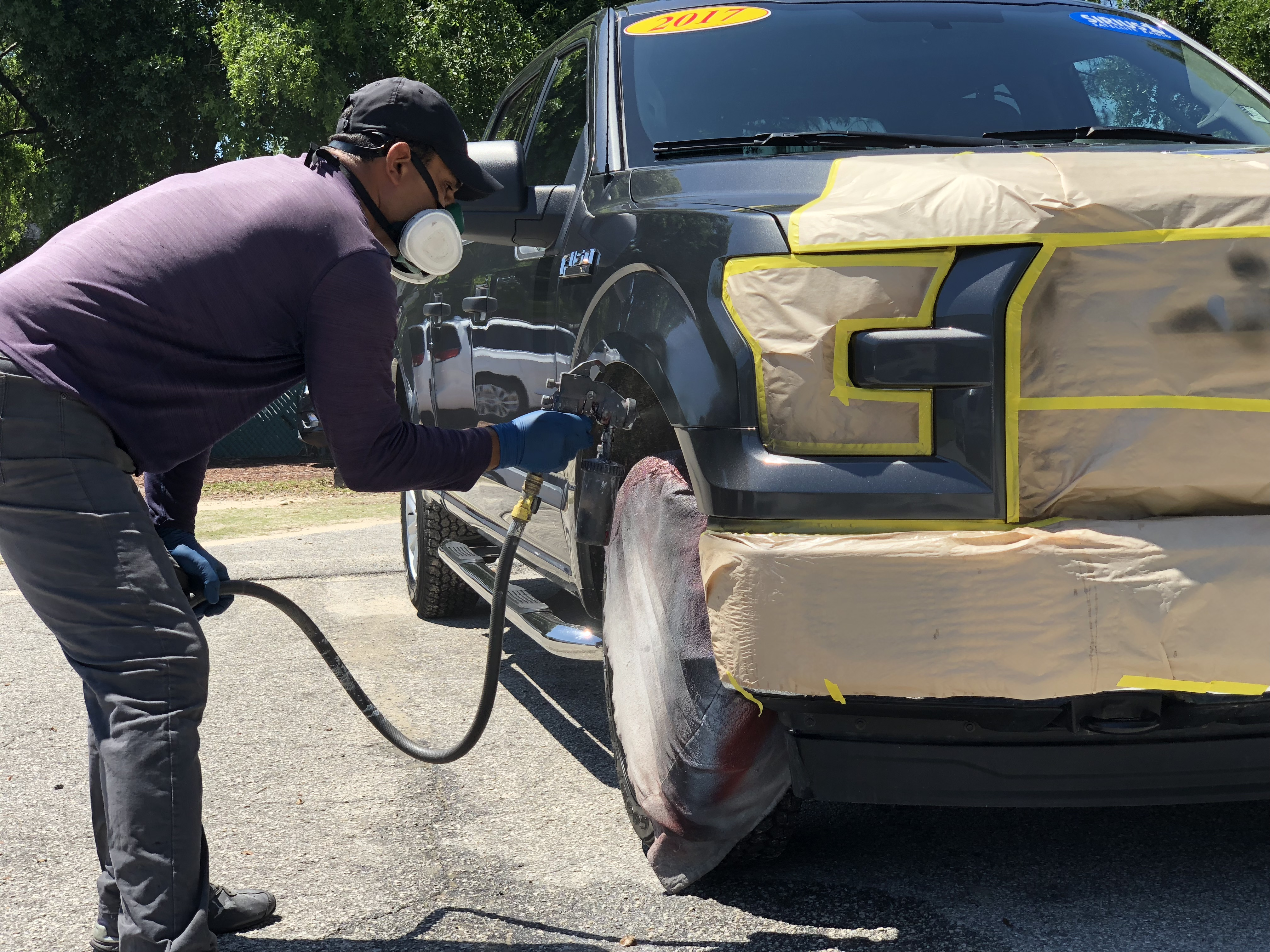 Picture of repainting a car bumper
