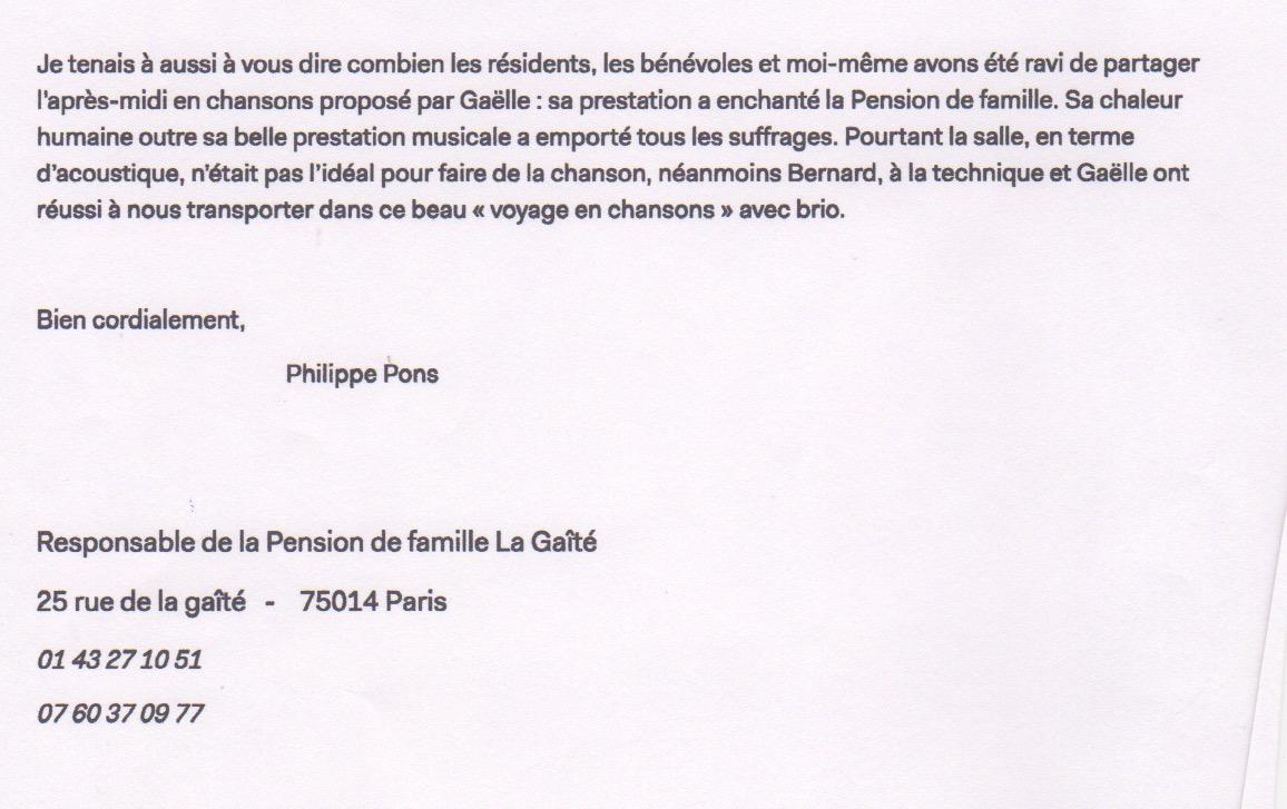 Remerciements Philippe Pons -Pension La Gaîté Paris 14