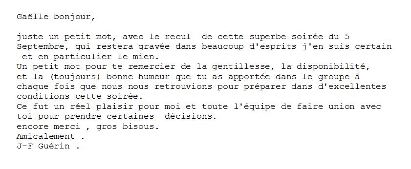 Remerciement J.F. Guérin