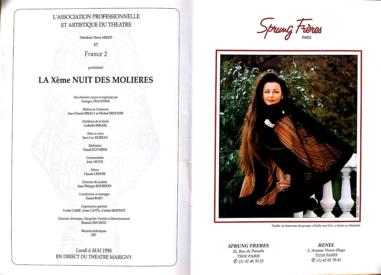 Photo Brochure la Xème nuit des Molières au Théâtre Marigny