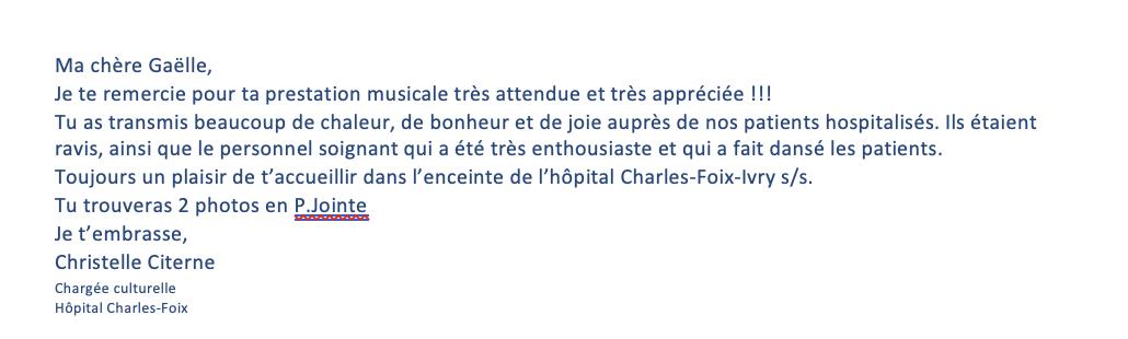 Remerciements responsable animation Hopital Charles Foix