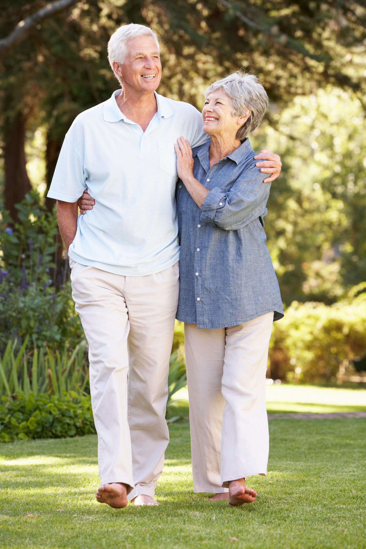 Happy Senior Couple Walking