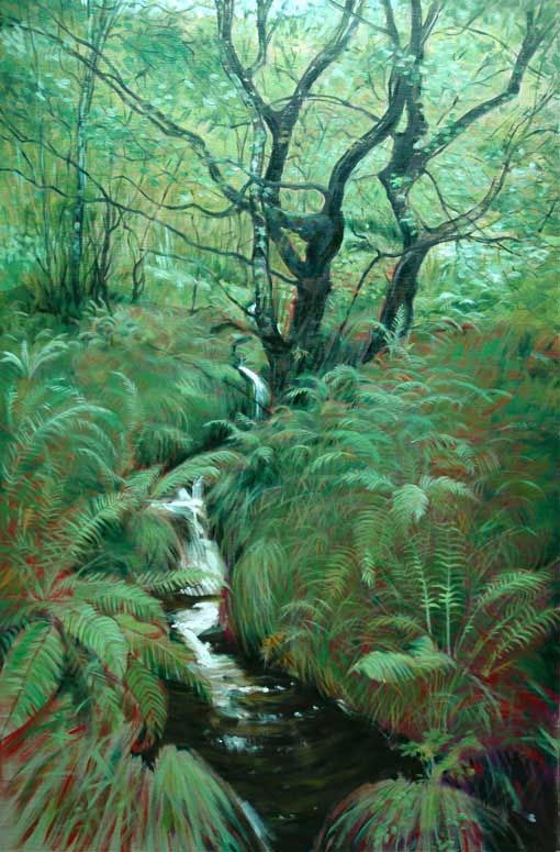 Alex's new painting of Glasdrum Woodlands on the slopes above Loch Creran.