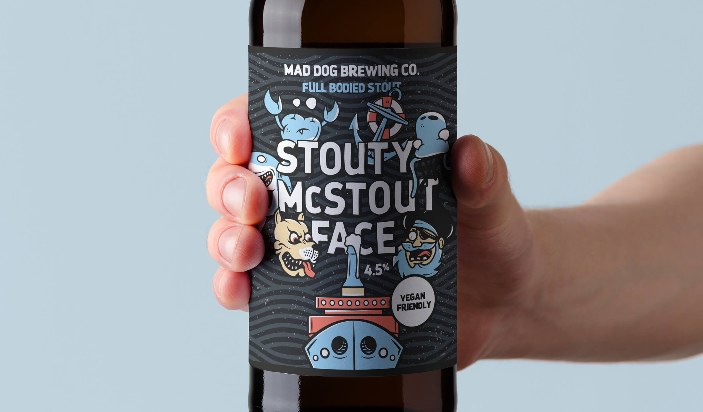 Illustrated branding and packaging design for Mad Dog Brewing Co - a craft ales producer based in south wales