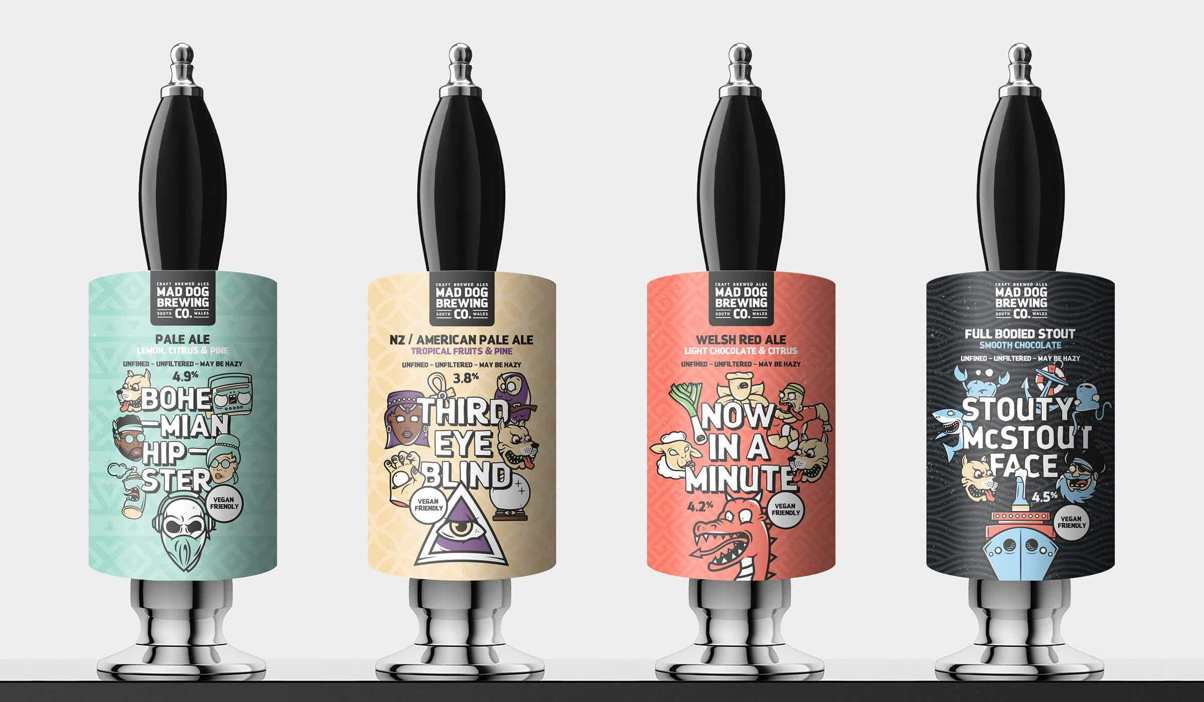 illustrated pump clip designs for brewery in south Wales