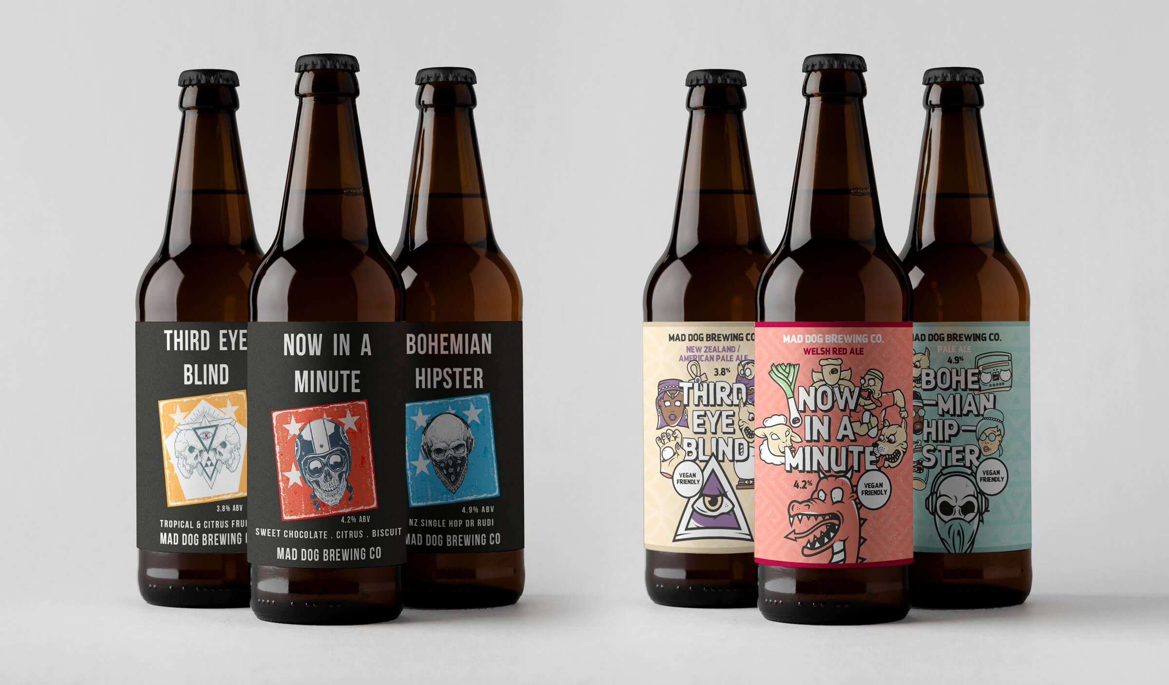 Mad Dog core beers packaging design before & after