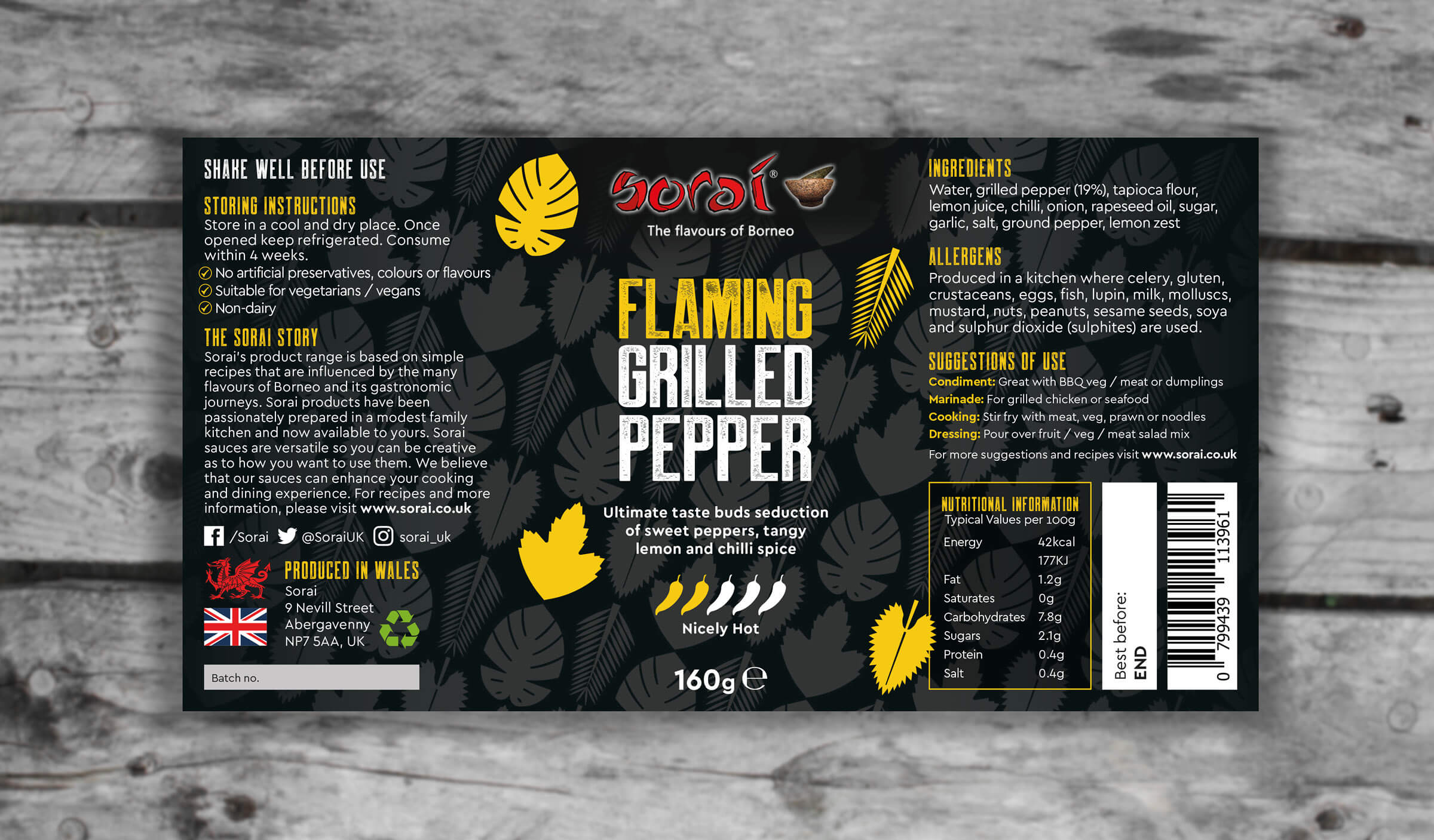 Hot pepper sauce full label design