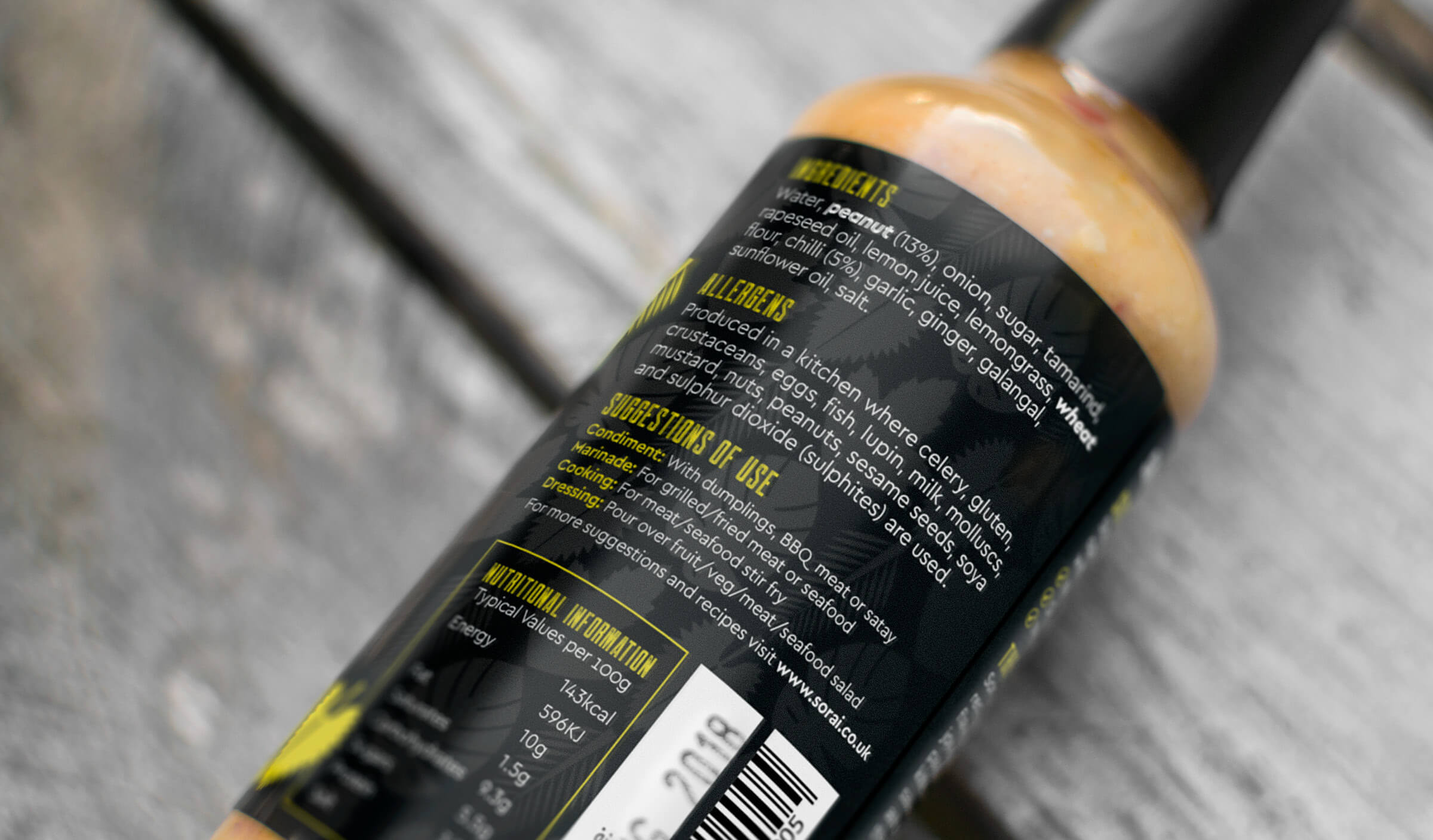 Hot sauce packaging label reverse