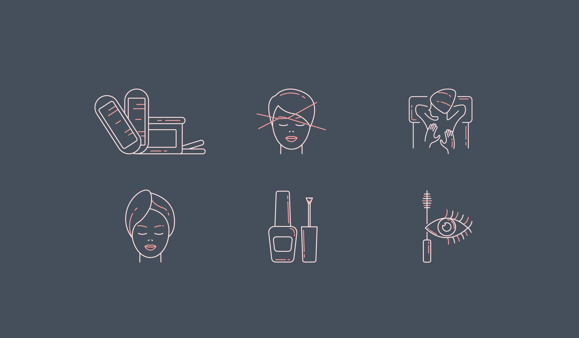 beauty salon illustrated icon set