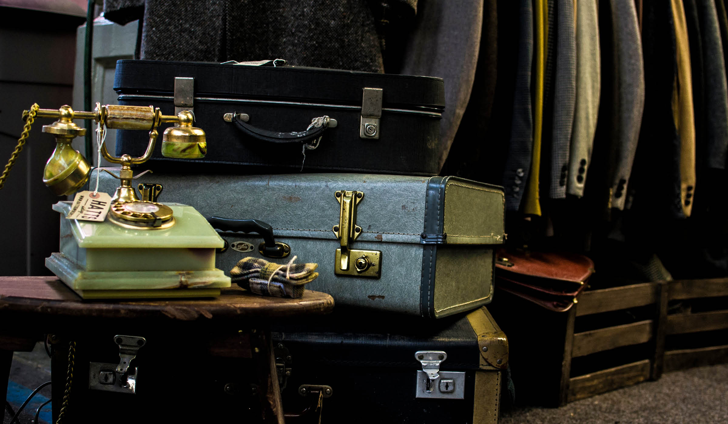 Photo of vintage suitcase and telephone