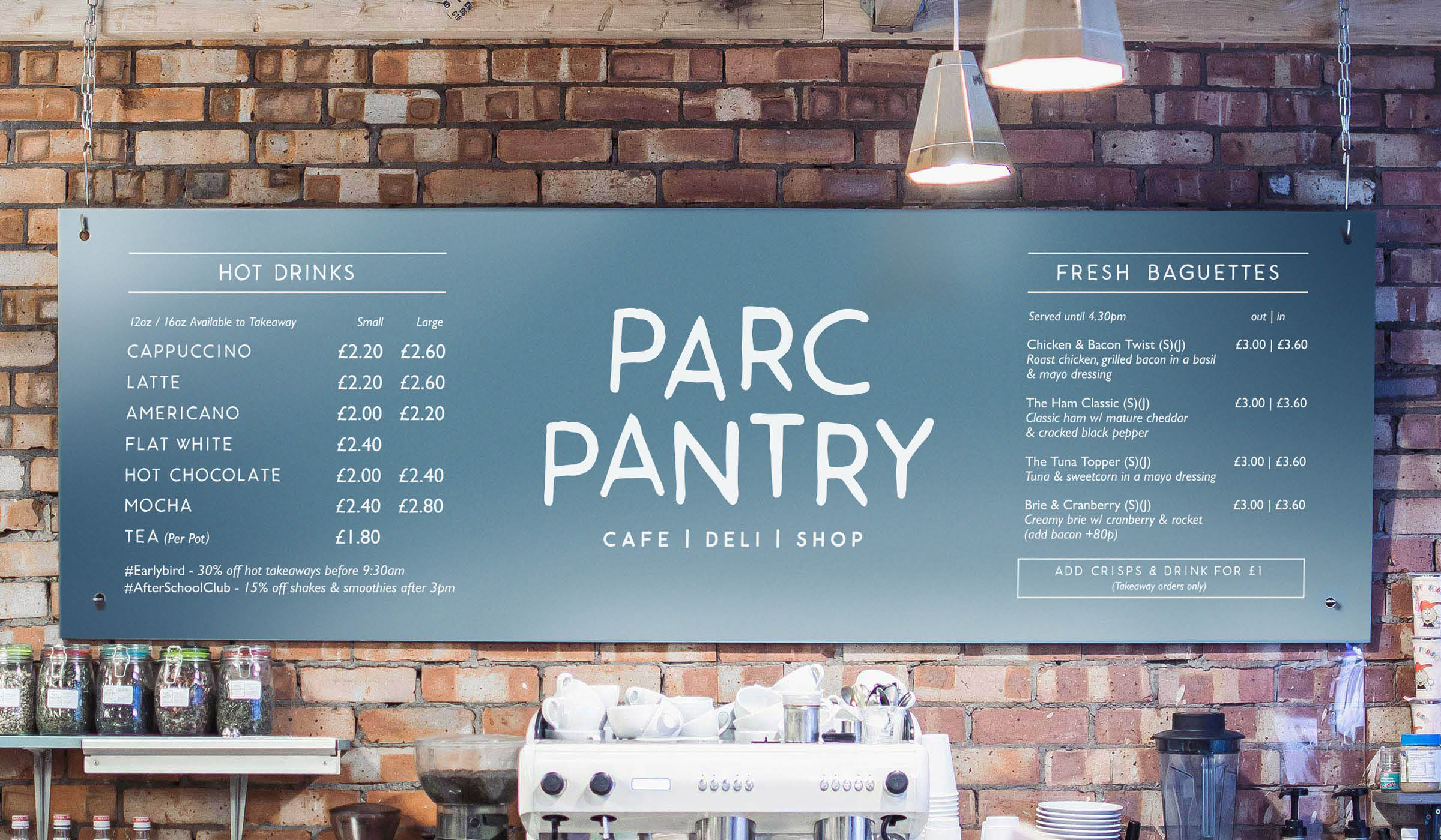 cafe menu system with custom font