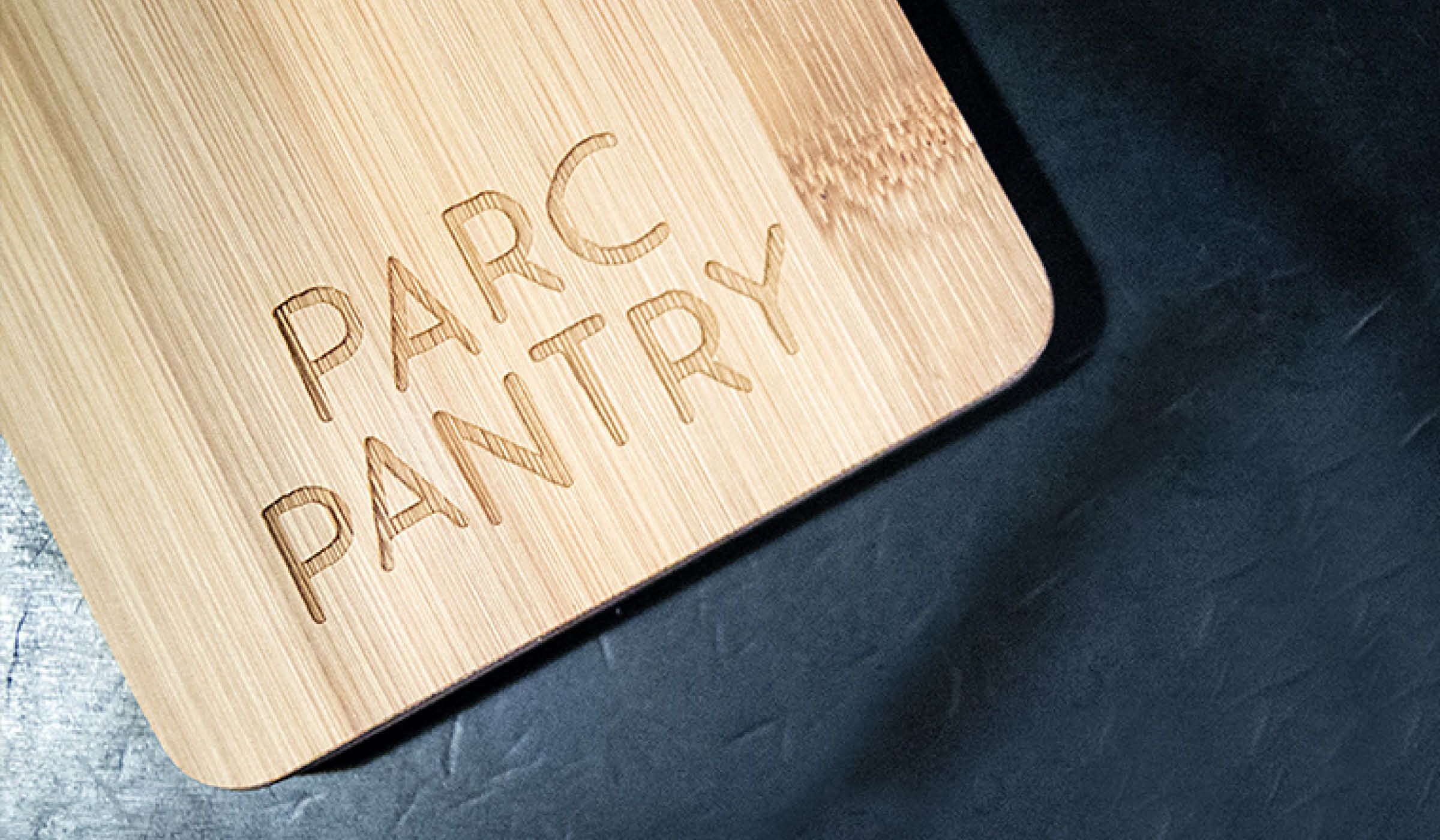 engraved logo design on a chopping board